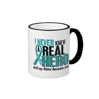 Ovarian Cancer NEVER KNEW A HERO 2 Nana Ringer Mug
