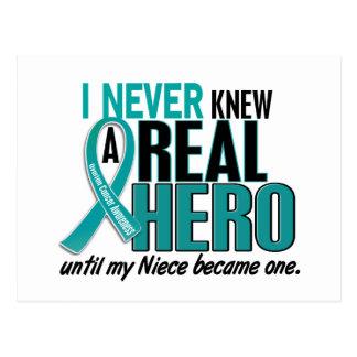 Ovarian Cancer NEVER KNEW A HERO 2 Niece Postcard
