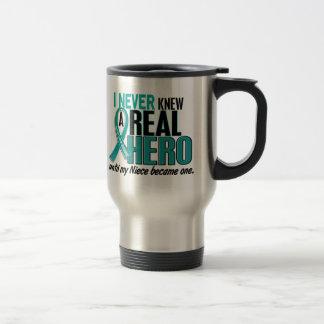 Ovarian Cancer NEVER KNEW A HERO 2 Niece Travel Mug