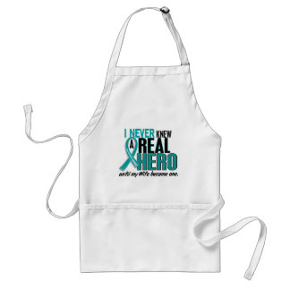 Ovarian Cancer NEVER KNEW A HERO 2 Wife Standard Apron