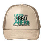 Ovarian Cancer NEVER KNEW A HERO 2 Wife Mesh Hats
