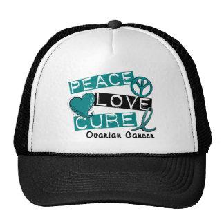 Ovarian Cancer PEACE LOVE CURE 1 Cap