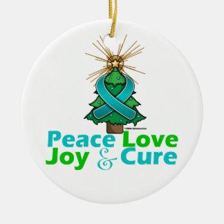 Ovarian Cancer Peace Love Joy Cure Round Ceramic Decoration