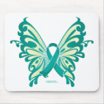 Ovarian Cancer Ribbon Butterfly Mouse Mat