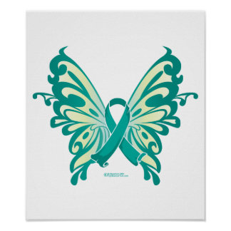 Ovarian Cancer Ribbon Butterfly Posters