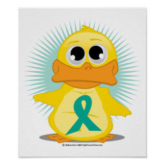 Ovarian Cancer Ribbon Duck Posters