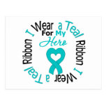 Ovarian Cancer Ribbon For My Hero Post Cards