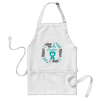 Ovarian Cancer Ribbon For My Sister Adult Apron
