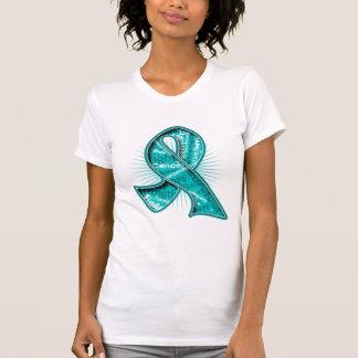 Ovarian Cancer Slogan Watermark Ribbon Tanktops
