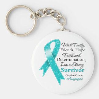Ovarian Cancer Support Strong Survivor Basic Round Button Key Ring