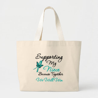 Ovarian Cancer Supporting My Niece Canvas Bags