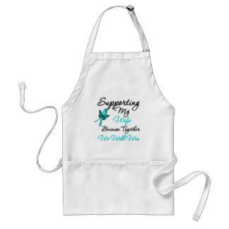 Ovarian Cancer Supporting My Wife Adult Apron