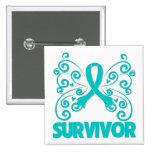 Ovarian Cancer Survivor Butterfly Button