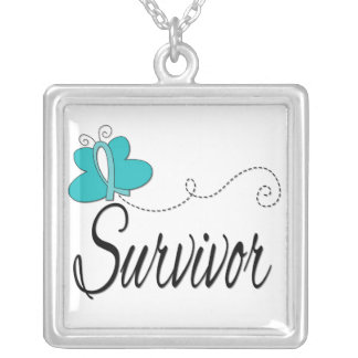 Ovarian Cancer Survivor Butterfly Ribbon Necklaces