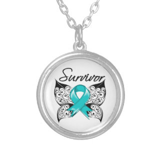 Ovarian Cancer Survivor Butterfly Round Pendant Necklace