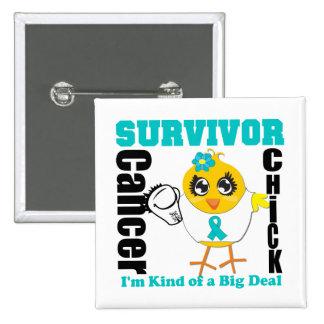 Ovarian Cancer Survivor Chick Ribbon 15 Cm Square Badge