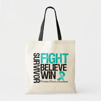 Ovarian Cancer Survivor Fight Believe Win Motto Tote Bags