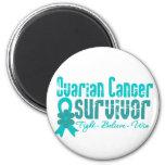 Ovarian Cancer Survivor Flower Ribbon Fridge Magnet