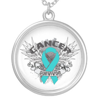 Ovarian Cancer Survivor Grunge Winged Round Pendant Necklace