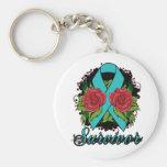 Ovarian Cancer Survivor Rose Tattoo Basic Round Button Key Ring