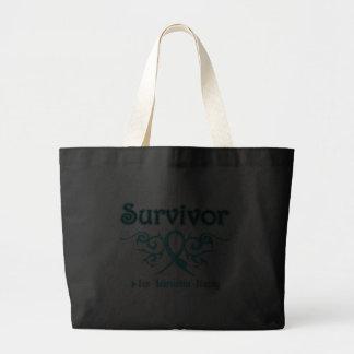 Ovarian Cancer Survivor Tribal Ribbon Tote Bag