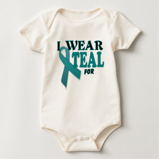 Ovarian Cancer Teal Awareness Ribbon Template Baby Bodysuits