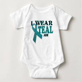 Ovarian Cancer Teal Awareness Ribbon Template Tees