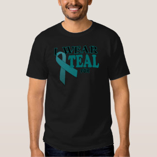 Ovarian Cancer Teal Awareness Ribbon Template Tshirts