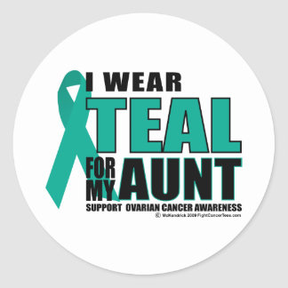 Ovarian Cancer Teal For Aunt Classic Round Sticker
