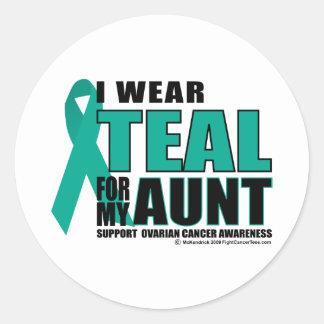 Ovarian Cancer Teal For Aunt Round Sticker