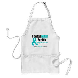 Ovarian Cancer Teal Ribbon For My Daughter-in-Law Adult Apron