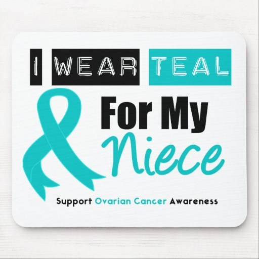 Ovarian Cancer Teal Ribbon For My Niece Mouse Mats