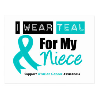Ovarian Cancer Teal Ribbon For My Niece Postcard