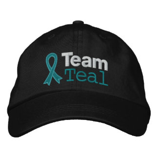 Ovarian Cancer Team Teal Embroidered Hats