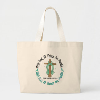 Ovarian Cancer WITH GOD CROSS 1 Large Tote Bag