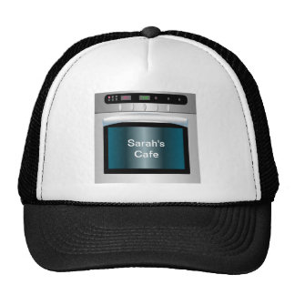 Oven graphic with personalized text trucker hats