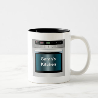 Oven graphic with personalized text Two-Tone mug