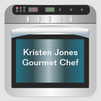 Oven graphic with personalized text square sticker