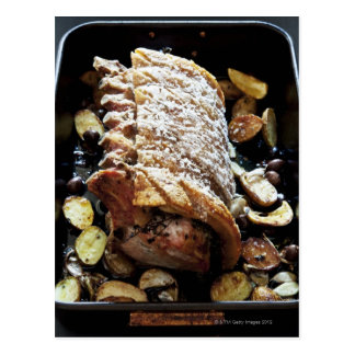 Oven Roaste zpork Loin with crackling potatoes Postcard
