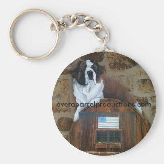 Over a Barrel Saint Logo Basic Round Button Key Ring