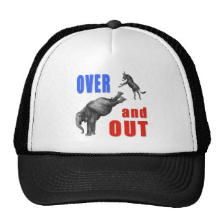 OVER AND OUT Political Illustration Trucker Hats