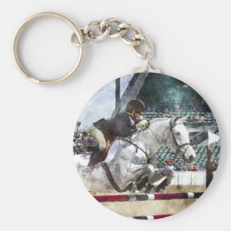 Over Easy Hunter Jumper Show Jumping Basic Round Button Key Ring