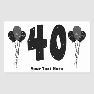 Over The Hill 40th Birthday (personalized) Rectangular Sticker