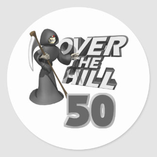 Over The Hill 50th Birthday Gift Round Sticker