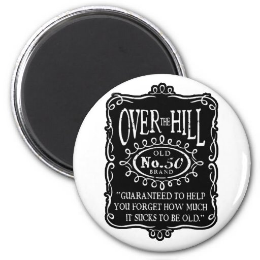 Over The Hill 50th Birthday Fridge Magnets