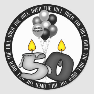 Over the Hill at 50 Birthday Stickers