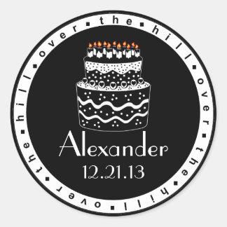 Over The Hill Birthday Cake Round Sticker