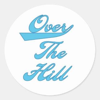Over the Hill Blue Round Sticker