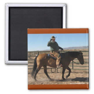 Over the Hill Cowboy and Horse - Western Humor Square Magnet