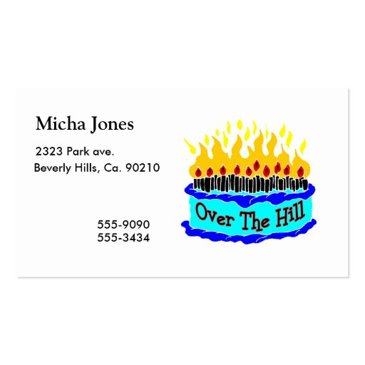 Over The Hill Flaming Birthday Cake Business Cards